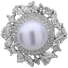Pearl and Diamond Stud Earring
