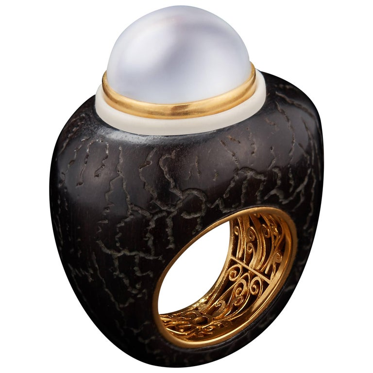 Alexandra Mor Ring with Majestic White Baroque South-Sea Pearl and Tagua Seed 1