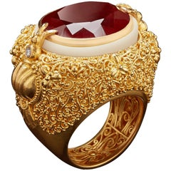 Oval-Cut Rich Orange Spessartite Garnet with Gold Filigree and Tagua Seed Ring
