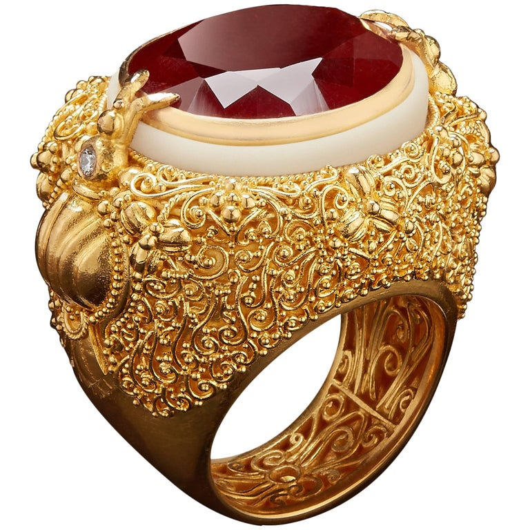 Alexandra Mor Orange Spessartite Garnet with Gold Filigree and Tagua Seed Ring For Sale