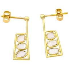Satin Yellow Gold and Rose Cut Diamond Square Rectangle Post Earrings