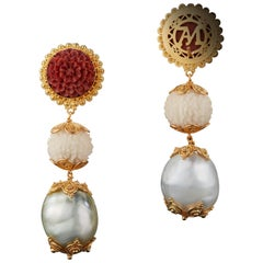 Three-Tier Carved Sawo Wood Flower and Baroque Pearl Earrings