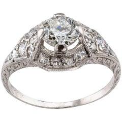 Art Deco 0.79 Carat Diamond Platinum Engagement Ring