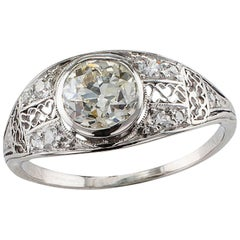 Edwardian 1.05 Carat Diamond Platinum Engagement Ring