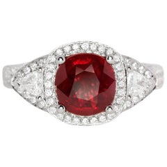 GRS Report 2.03 Carat Natural Burma Ruby Ring