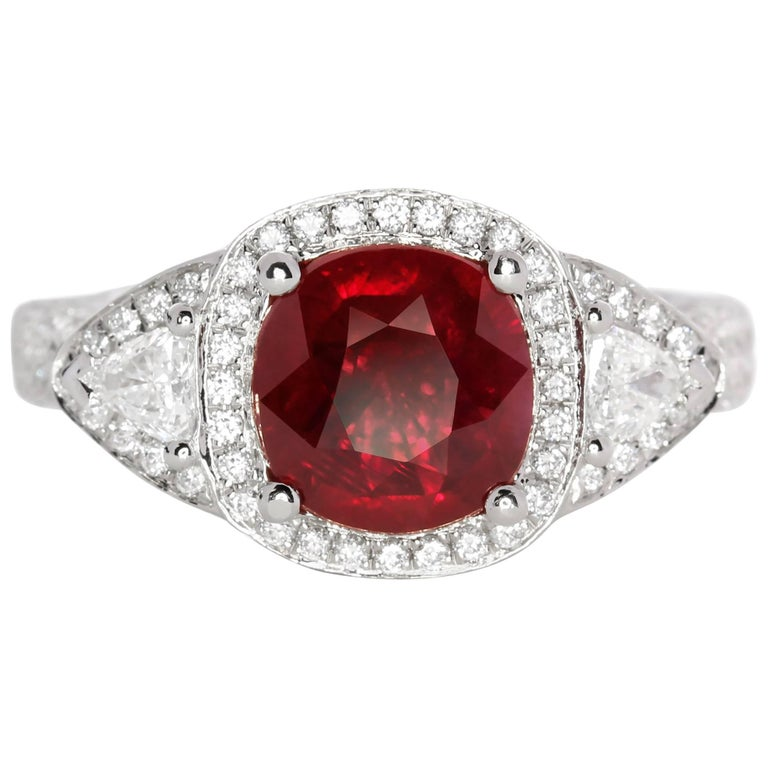 GRS Report 2.03 Carat Natural Burma Ruby Ring For Sale