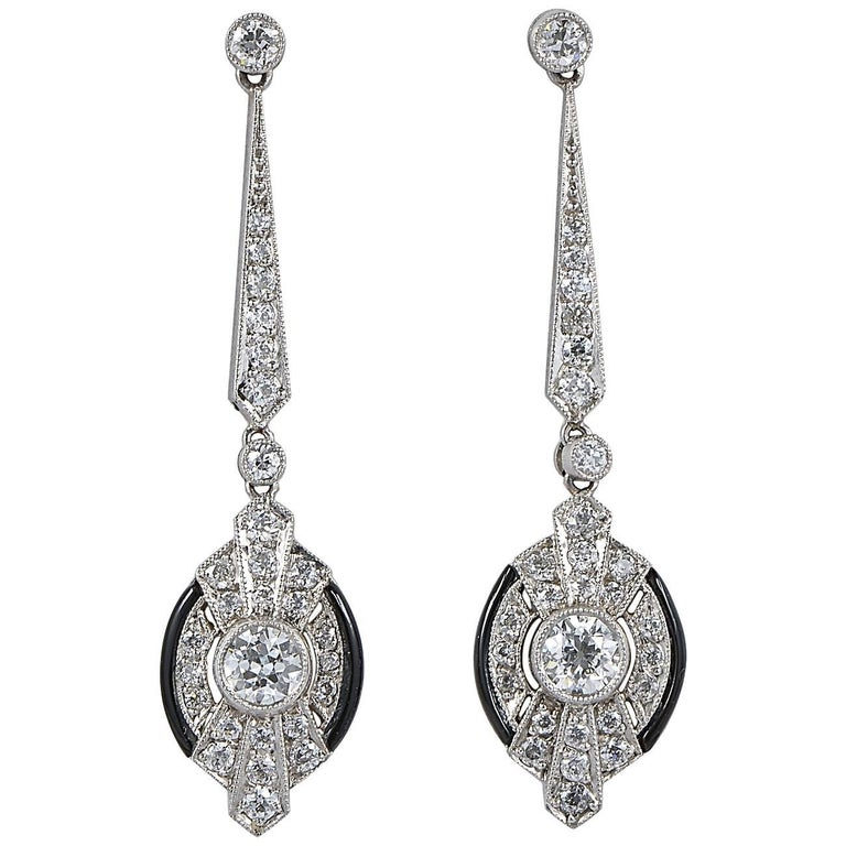 Art Deco 3.0 Carat Diamond Black Onyx Platinum Drop Earrings