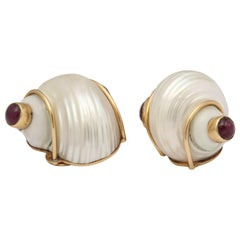 1940s Seaman Schepps Turbo Shell Ruby and Gold Clip on Earrings