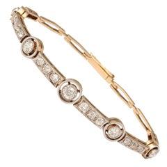 Edwardian Flexible Five Bezel Set Diamond Platinum and Gold Delicate Bracelet