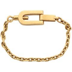 1950s Gubelin France Open Link Gold Lock Fancy Key Chain
