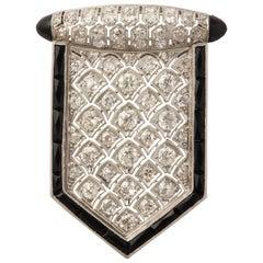 Art Deco Shield Shape Honeycomb Design Diamond and Onyx Platinum Pendantt