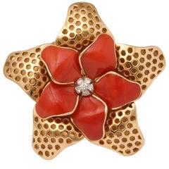 1980s Coral Diamond Starfish Ring