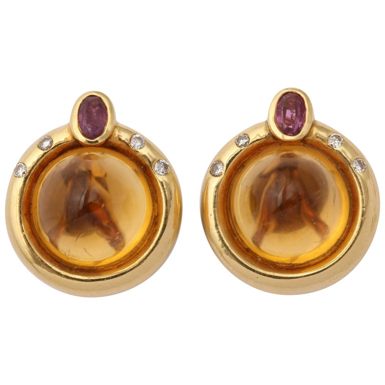 R.Cipullo 1990s Sugar Loaf Cut Citrine Ruby with Diamonds Gold Earrings