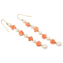 1950s Carved Coral Floral with Cultured Pearls Dangle Gold Earrings