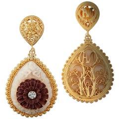 Wild-Harvested Tagua Seed Kayonan with Sawo Wood Lotus and Diamond Earrings
