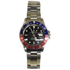 Rolex stainless steel GMT-Master Pepsi Bezel Wristwatch Ref 16750