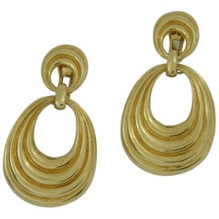 David Webb Long Gold Door Knocker Earrings