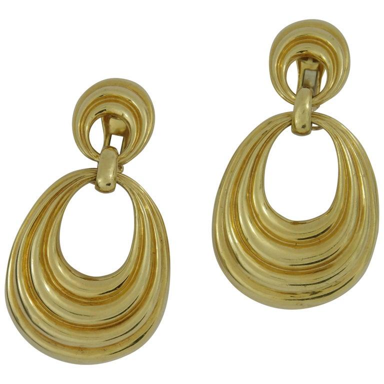 David Webb Long Gold Door Knocker Earrings