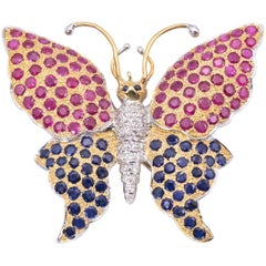 Delightful Blue Sapphire Ruby and Diamond Butterfly Brooch