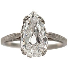 1924 Platinum Art Deco 1.73 GIA Certified Diamond Engagement Ring with Engraving