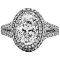 Classic Double Halo Platinum and Diamond Engagement Ring