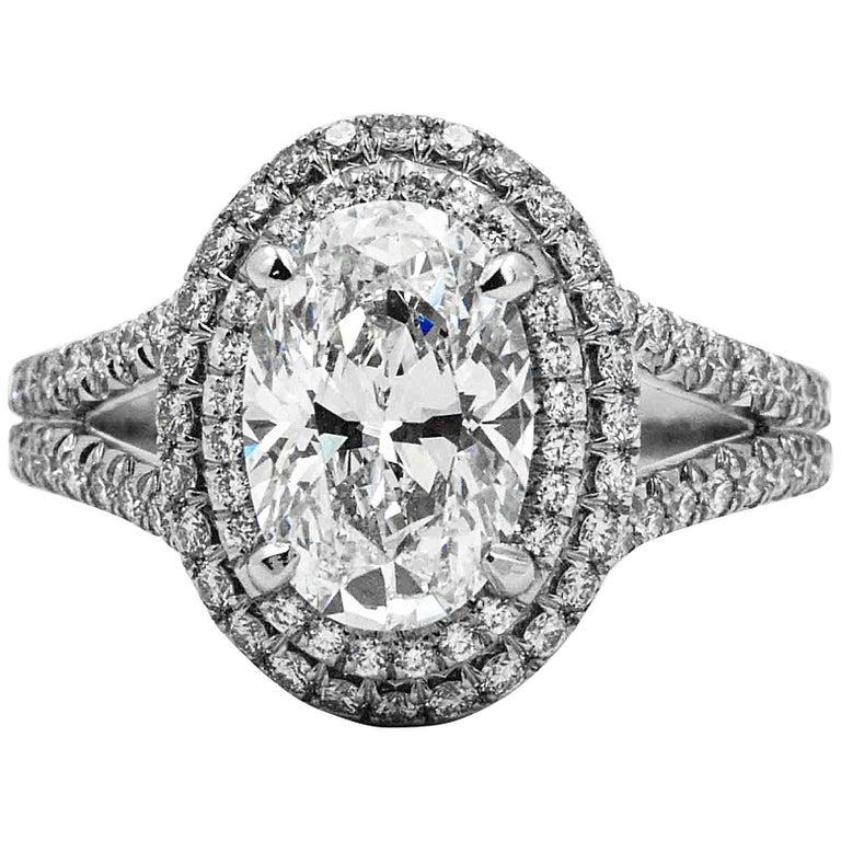Platinum Halo 2.02 Carat Diamond Engagement Ring