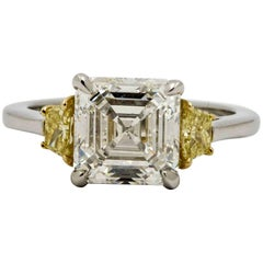 Platinum White and Yellow Diamond Engagement Ring