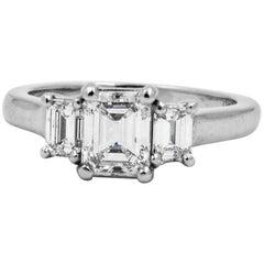 Three-Stone Platinum and Diamond Engagement Ring
