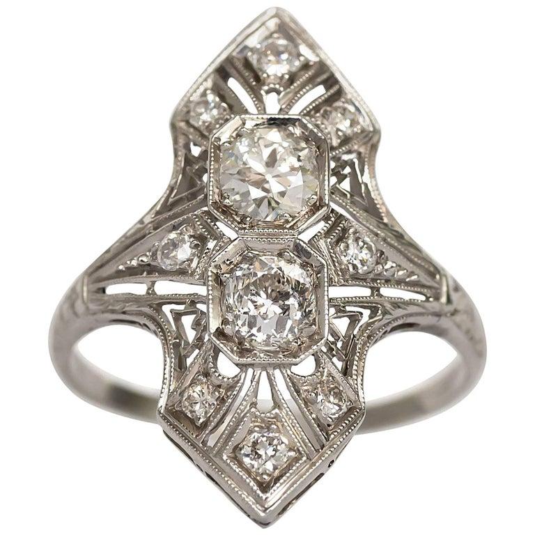 1920s Art Deco Platinum .75 Carat Total Weight Center Diamond Engagement Ring