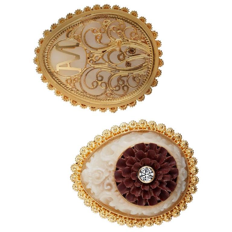 Wild-Harvested Tagua Seed Kayonan with Sawo Wood Lotus and Diamond Stud Earrings 1