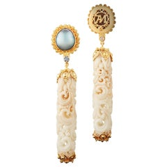 Alexandra Mor Dangling Earrings with Tagua Seed, Mabe Pearls and Diamonds