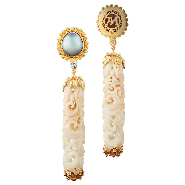 Alexandra Mor Dangling Earrings with Tagua Seed, Mabe Pearls and Diamonds For Sale