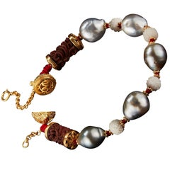 Alexandra Mor Bracelet with Wild-Harvested Tagua Seed, Sawo Wood, Baroque Pearls