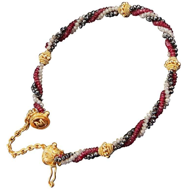 Alexandra Mor Tri Datu Diamond and Ruby Blessing Bracelet For Sale