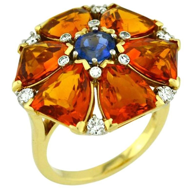 Citrine and Sapphire Cocktail Ring