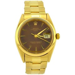 Rolex Yellow Gold Original brown Dial Date Automatic Wristwatch, 1977