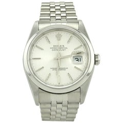 Rolex Stainless Steel Datejust Dome Bezel Tuxedo Dial Automatic Wristwatch
