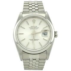 Rolex Stainless Steel Datejust Dome Bezel Tuxedo Dial Automatic Wristwatch