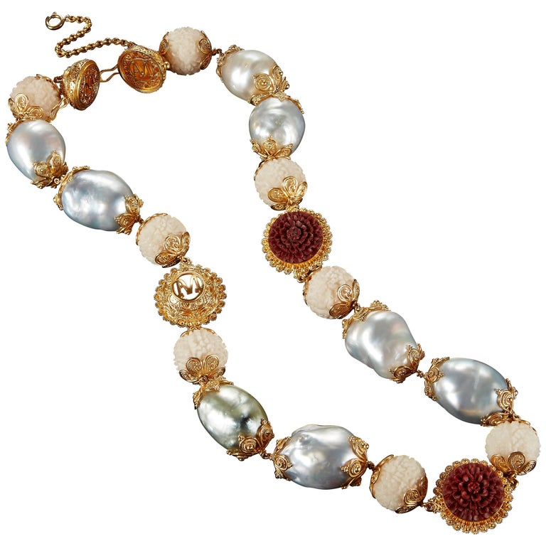 Alexandra Mor Necklace with Tagua, Sawo Wood and Baroque South Sea Pearl For Sale