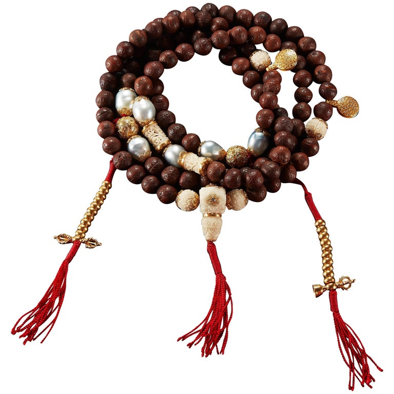 Alexandra Mor 108 Bead Buddhist Mala Necklace with Tagua and Nepali Bodhi Beads 1