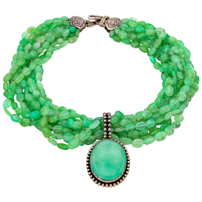 Multi-Strand Chrysoprase Necklace with Large Pendant in Sterling Silver