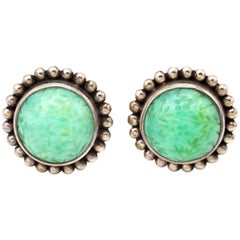 Sterling Silver and Carved Flowers Chrysoprase Earrings Stephen Dweck