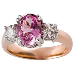 Kian Design 2.23 Carat Certified Oval Pink Sapphire and Diamond Ring