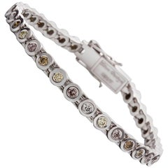 Kian Design 18 Carat White Gold colored Diamond Tennis Bracelet