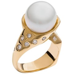 Kian Design Yellow Gold South Sea Pearl Diamond Ring