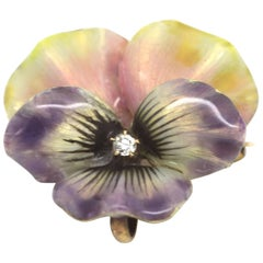 Edwardian Enamel and Diamond Flower Brooch/Pendant