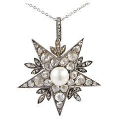 Victorian Natural Pearl 4.50 Carat Diamond Star Pendant