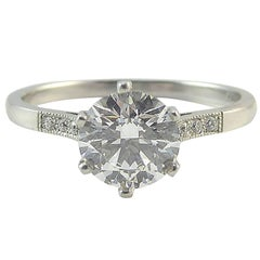 GIA Certified 1.04 Carat Brilliant Cut Diamond Solitaire Ring, Platinum