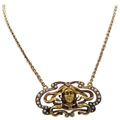 Art Nouveau Pendant Seed Pearl Ruby Diamond Yellow Gold