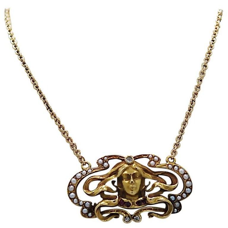 Art Nouveau Pendant Seed Pearl Ruby Diamond Yellow Gold